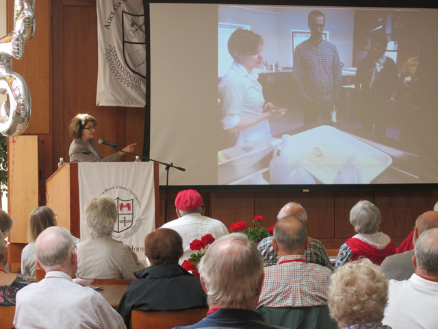At the class Symposium, Stephanie Wiles, Director of the Johnson Museum of Art, discussed the museum's outreach efforts to the Cornell community.