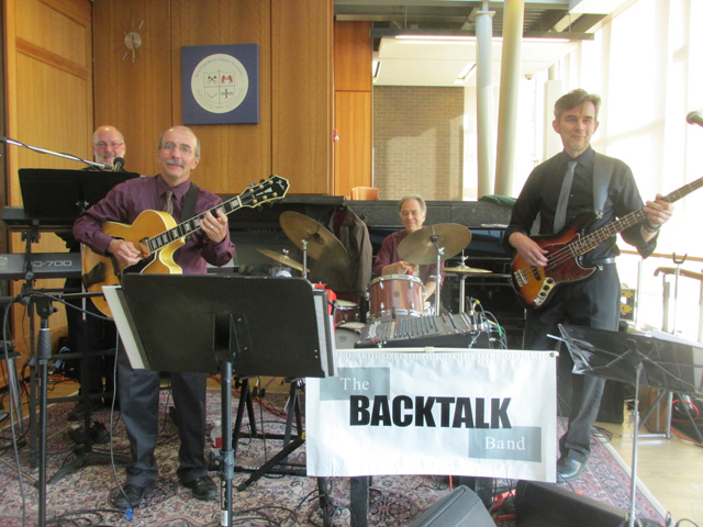 The Backtalk Band (Ithaca College profs.) perform at our dinner/dance at Alice Cook House on Friday evening.