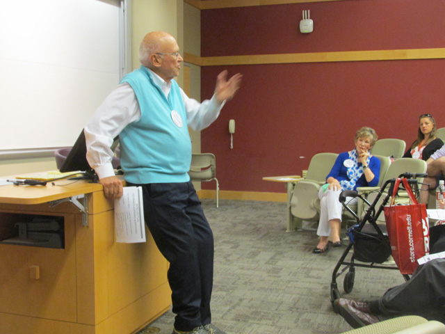 Ken Blanchard '61 speaking at Refiring Reunion Workshop in Statler Hall on Saturday.