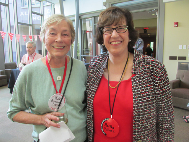 Ruth Zimmerman Bleyler, outgoing Class President, with Martha Pollack, CU President.