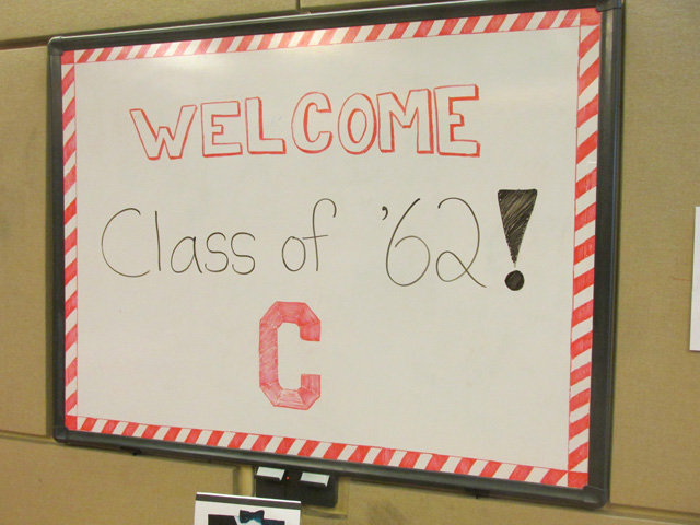 The '62 welcome sign at class HQ.