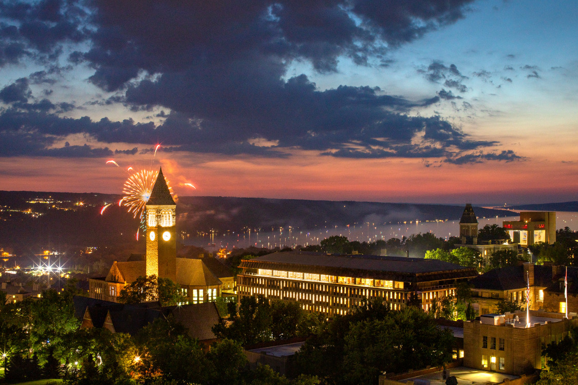 Fireworks over Cornell Campus