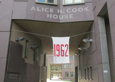 Alice-Cook exterior with CU 1962 banner