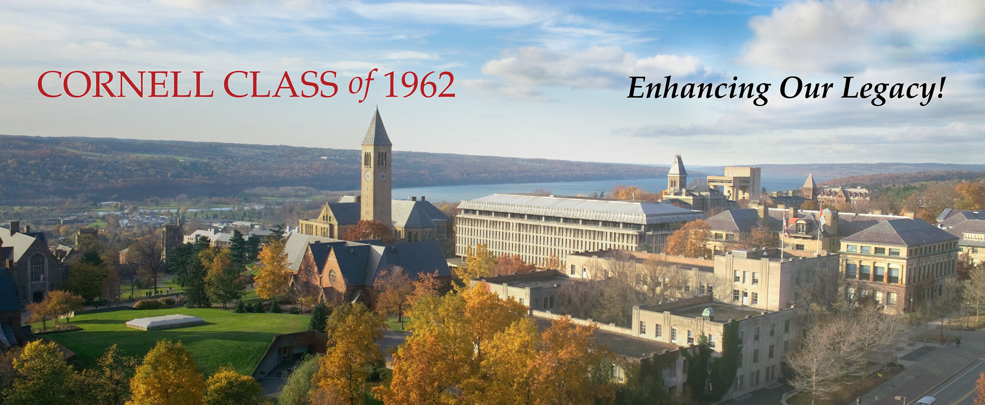 Cornell Campus overview with Cayuga Lake in the background