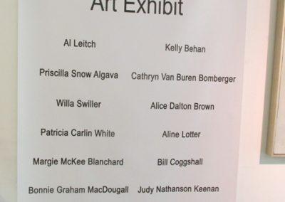 Class of 62 Art Exhibit sign