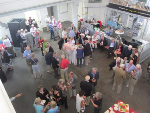 Overhead shot of reception in Sibley Dome.